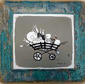 Картины и панно ручной работы. Ярмарка Мастеров - ручная работа Счастливая повозка авторская работа акрилом на старинной доске. Handmade.