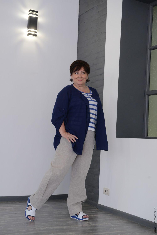Art. .0767 Linen trousers with a one-piece yoke made of knitwear gray, Pants, Kirov,  Фото №1