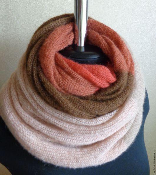 Шали, палантины ручной работы. Ярмарка Мастеров - ручная работа. Купить Снуд-шарф  из кидмохера Корица. Handmade. Шарф женский