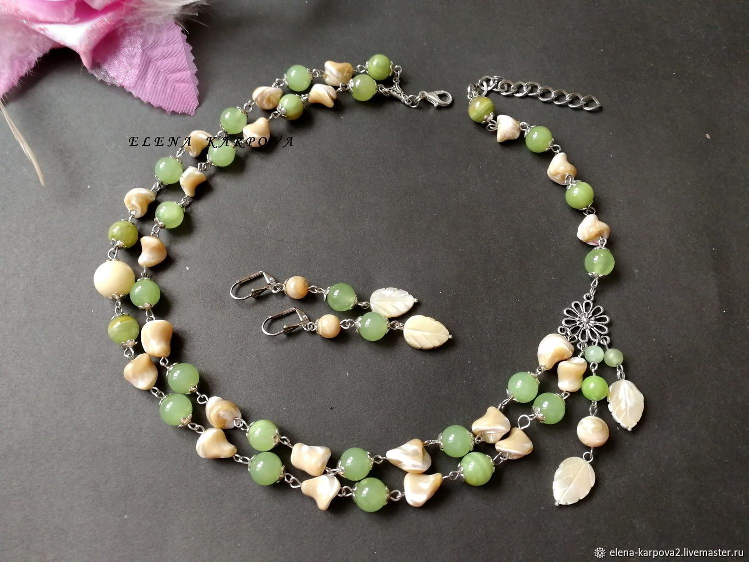 ebd43df56 Jewelry Sets handmade. Livemaster - handmade. Buy Green lawn set. Mother of  Pearl ...