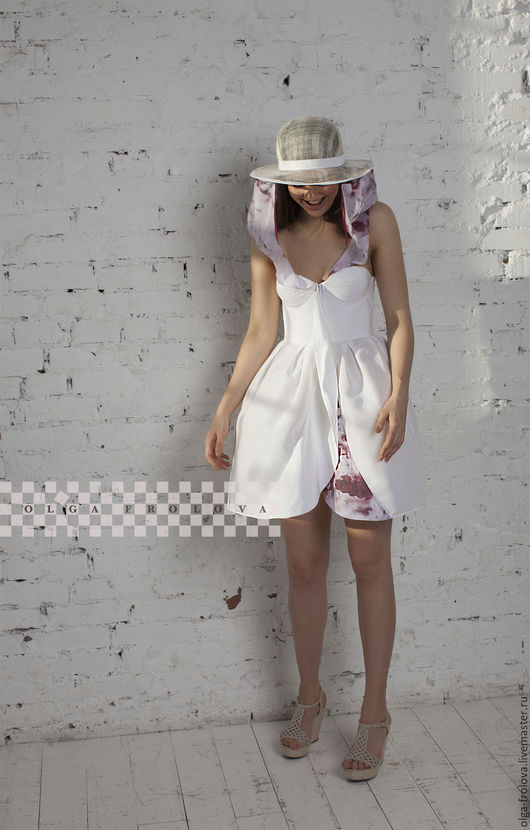 Платья ручной работы. Ярмарка Мастеров - ручная работа. Купить - 30% от цены! Белое дизайнерское платье (комплект с шляпой и вуалью!). Handmade.