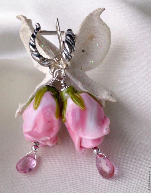 """Серьги ручной работы. Ярмарка Мастеров - ручная работа. Купить Серьги  """" Гламурные розы - 4 """" Лэмпворк, серебро, розовый топаз. Handmade."""