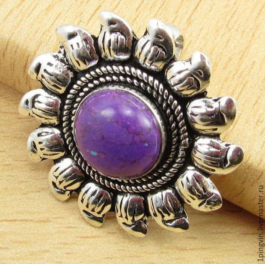 Удивительный серебряный кулон из медно-фиолетовой бирюзы