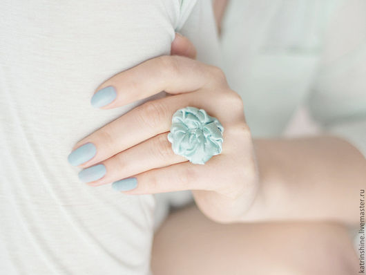 """Кольца ручной работы. Ярмарка Мастеров - ручная работа. Купить Кольцо текстильное светло-зеленое """"Мятные листочки"""" кольцо из ткани. Handmade."""