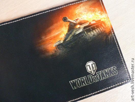 Кожаная обложка для паспорта-1 Обложка на паспорт World of tanks. Подарок на 23 февраля.