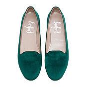 Обувь ручной работы. Ярмарка Мастеров - ручная работа БАРХАТНЫЕ СЛИПЕРЫ РУЧНОЙ РАБОТЫ ТРАВЯНИСТО-ЗЕЛЕНОГО ЦВЕТА. Handmade.