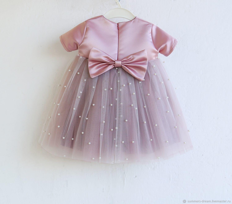 Нарядное пудровое платье