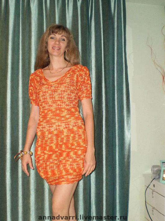 Платья ручной работы. Ярмарка Мастеров - ручная работа. Купить Платье оранжевое. Handmade. Вязаное платье, пляжное платье