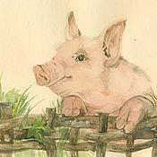 Картины и панно ручной работы. Ярмарка Мастеров - ручная работа Свинка. Handmade.