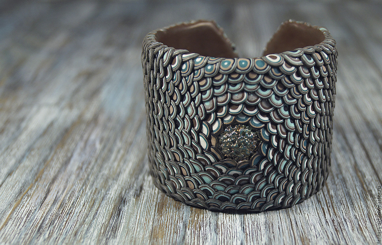 Браслет из полимерной глины - Земляной дракон