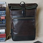 Сумки и аксессуары handmade. Livemaster - original item WALKER L Leather backpack twist made of brown genuine leather. Handmade.