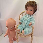 Винтаж handmade. Livemaster - original item wicker chair for dolls and dolls with a doll as a gift(3). Handmade.