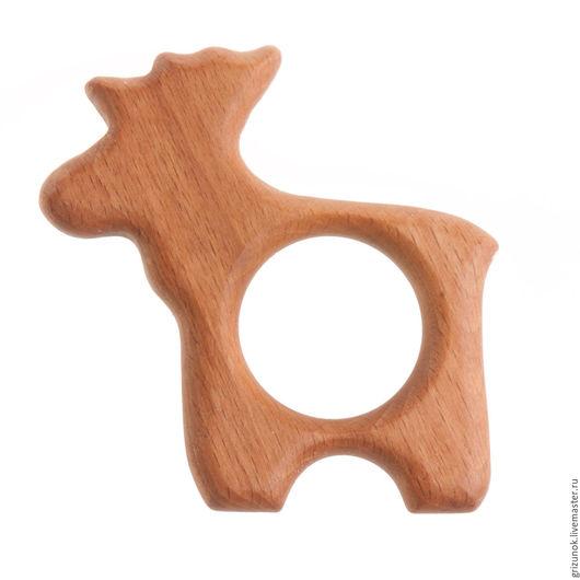 """Развивающие игрушки ручной работы. Ярмарка Мастеров - ручная работа. Купить Грызунок """"Лось"""". Handmade. Коричневый, дерево, грызунок из дерева"""