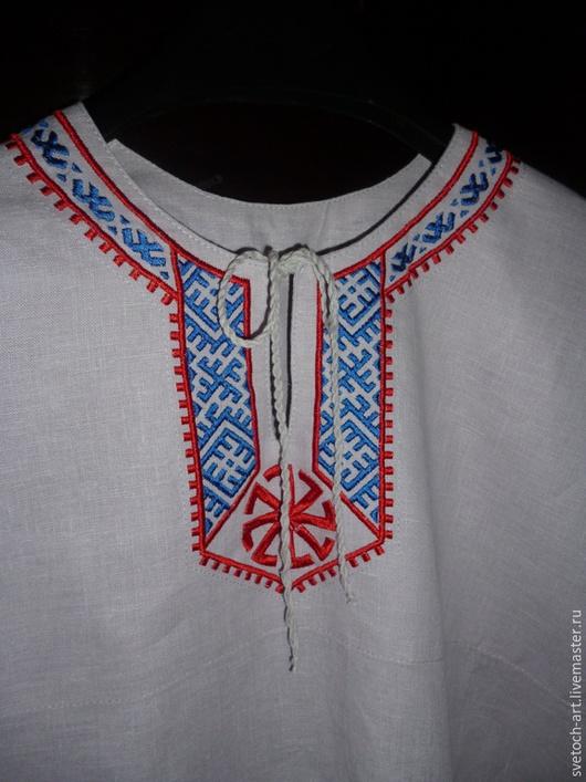 Одежда ручной работы. Ярмарка Мастеров - ручная работа. Купить Рубаха мужская Арт.003. Handmade. Белый, Машинная вышивка