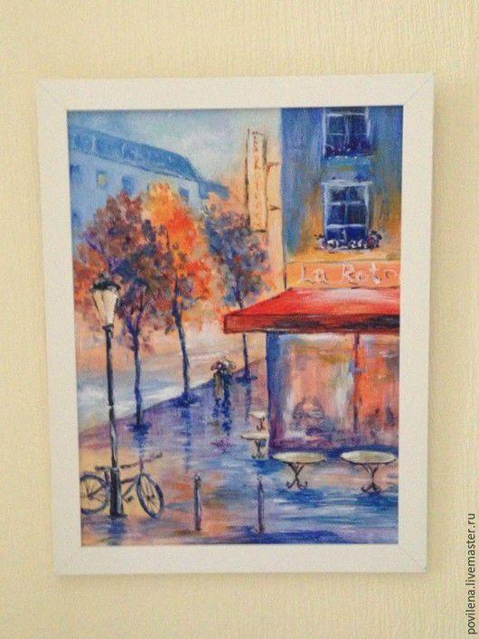 Город ручной работы. Ярмарка Мастеров - ручная работа. Купить картина Парижское кафе. Handmade. Синий, романтика, зонт, подарок