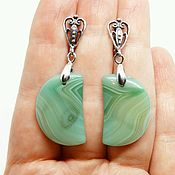 Украшения handmade. Livemaster - original item Earrings with Green agate Crescent. Handmade.