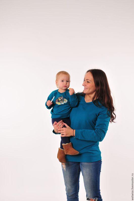 Кофты и свитера ручной работы. Ярмарка Мастеров - ручная работа. Купить Свитшоты для мамы и сына. Handmade. Зеленый, мама и сын