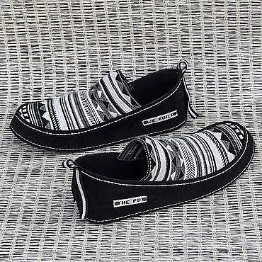 """Обувь ручной работы. Ярмарка Мастеров - ручная работа Туфли """"Вlack&white"""" Кожа + текстиль. Handmade."""