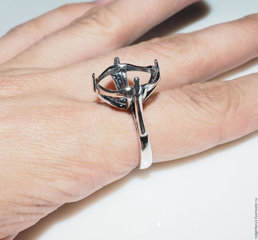 """Для украшений ручной работы. Ярмарка Мастеров - ручная работа. Купить Основа для кольца """"Анна""""(15.5) - серебрение 925 пробы. Handmade."""
