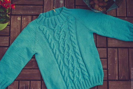 Одежда унисекс ручной работы. Ярмарка Мастеров - ручная работа. Купить Пуловер хлопок унисекс. Handmade. Мятный, для девочки, унисекс