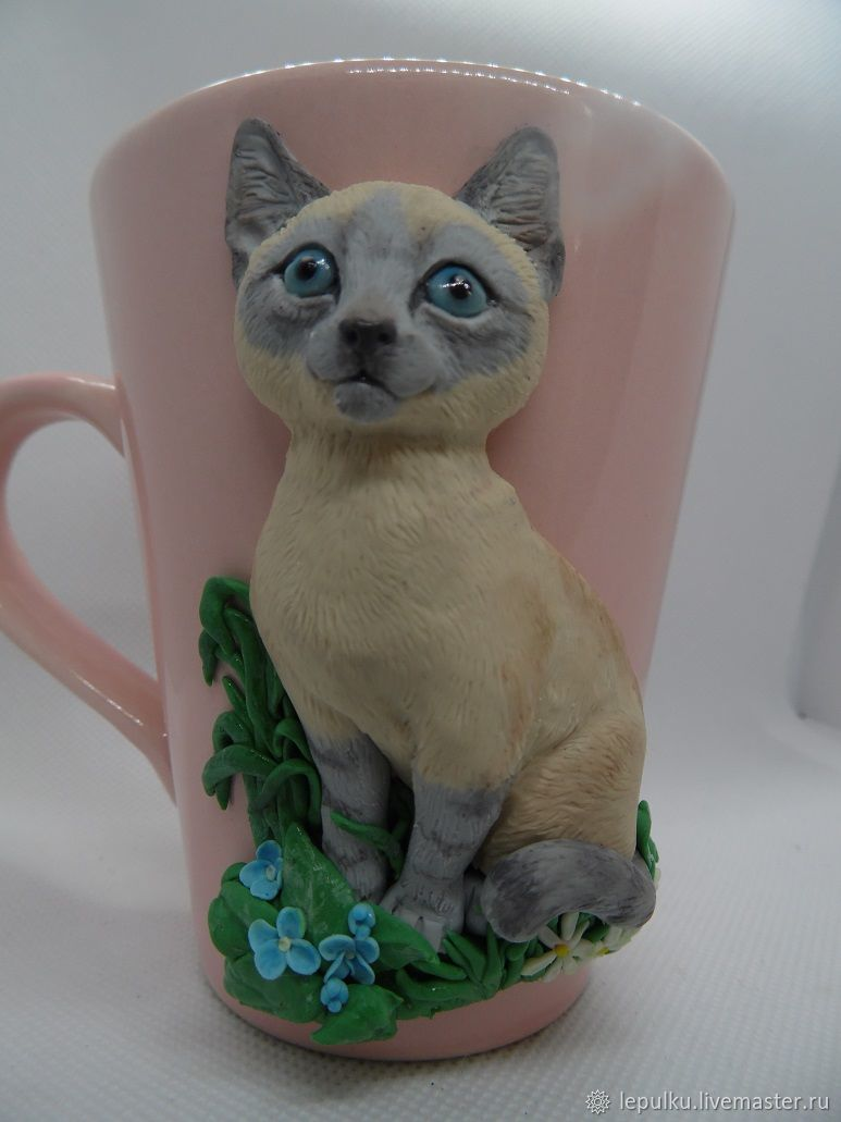 Кружка: с декором из полимерной глины. Сиамский котенок, Кружки и чашки, Таловая,  Фото №1
