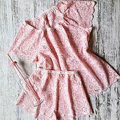 """Комбинации ручной работы. Ярмарка Мастеров - ручная работа Пижама женская(комплект для сна) """"Розовый рассвет"""". Handmade."""
