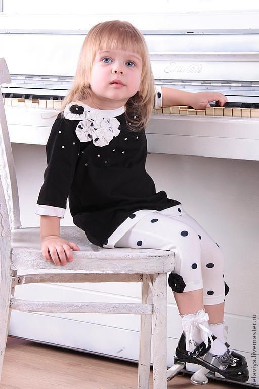 """Одежда для девочек, ручной работы. Ярмарка Мастеров - ручная работа. Купить Комплект для девочки """"Мадемуазель"""" от Delaviya. Handmade. Чёрно-белый"""
