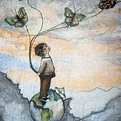 """Классическая сумка ручной работы. Ярмарка Мастеров - ручная работа Валяные сумки с рисунком """"Шерстяная акварель"""". Handmade."""