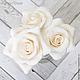 Заколки ручной работы. Комплект свадебных шпилек с розами - Белые (3 шт). Tanya Flower. Интернет-магазин Ярмарка Мастеров.