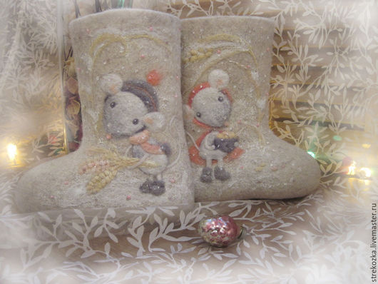 Обувь ручной работы. Ярмарка Мастеров - ручная работа. Купить Валенки с нежными мышками для милых малышек!. Handmade. Белый