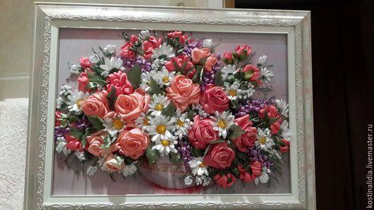 Картины цветов ручной работы. Ярмарка Мастеров - ручная работа. Купить Розы с ромашками. Handmade. Вышивка лентами