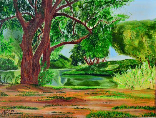 Пейзаж ручной работы. Ярмарка Мастеров - ручная работа. Купить Зелёная Тишина (картина маслом, пейзаж, не дорого). Handmade.