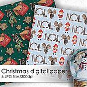 Шаблоны для печати ручной работы. Ярмарка Мастеров - ручная работа Рождественский узор - набор из 6 JPG файлов. Handmade.