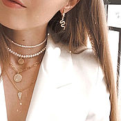 Украшения handmade. Livemaster - original item Pearl choker with coin. Multilayer necklace made of natural pearls. Handmade.