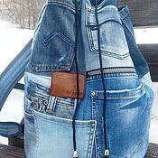 Сумки и аксессуары handmade. Livemaster - original item Denim magii backpack. Handmade.