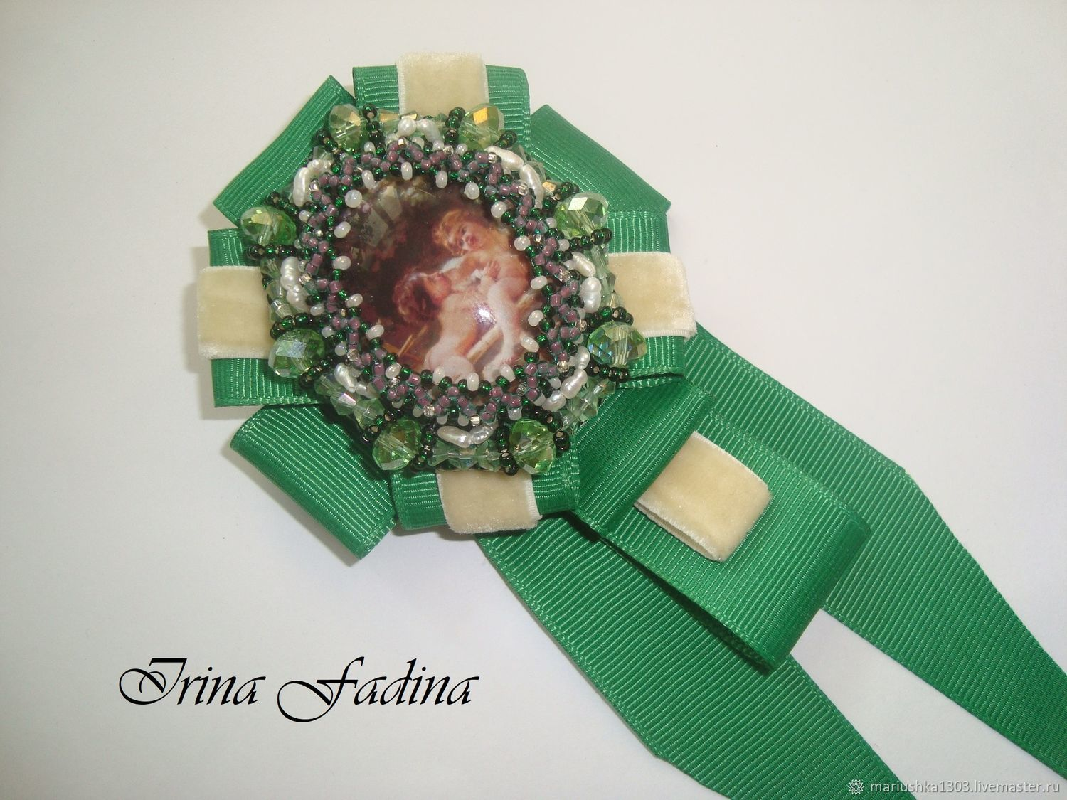 Brooch-order with a tie of white pearls 'Amurchiki', Brooches, Voskresensk,  Фото №1