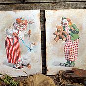 """Картины и панно ручной работы. Ярмарка Мастеров - ручная работа Набор настенных панно """" Весёлые клоуны"""". Handmade."""