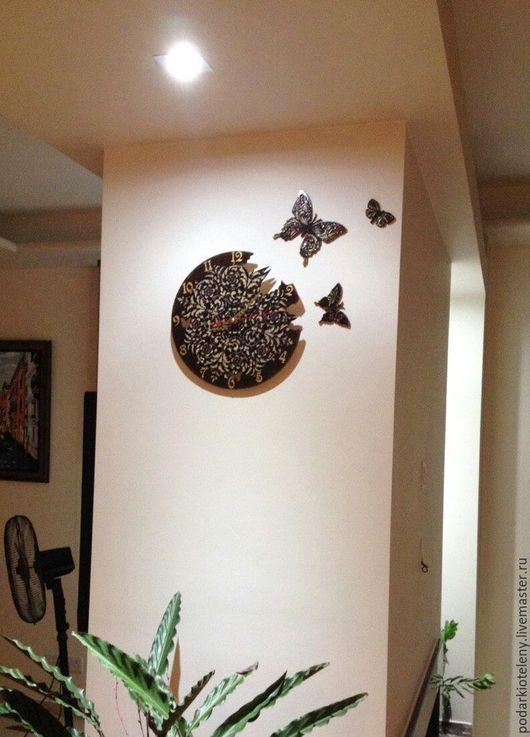 Ярмарка мастеров - ручная работа,часы настенные, часы ручная работа, купить часы, купить часы с бабочками, купить летние часы, бабочки, лето, часы с вылетающими бабочками.