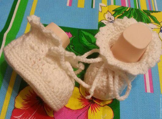 """Для новорожденных, ручной работы. Ярмарка Мастеров - ручная работа. Купить Пинетки """"Гламурчики"""" белые.. Handmade. Белый, красивые пинетки"""