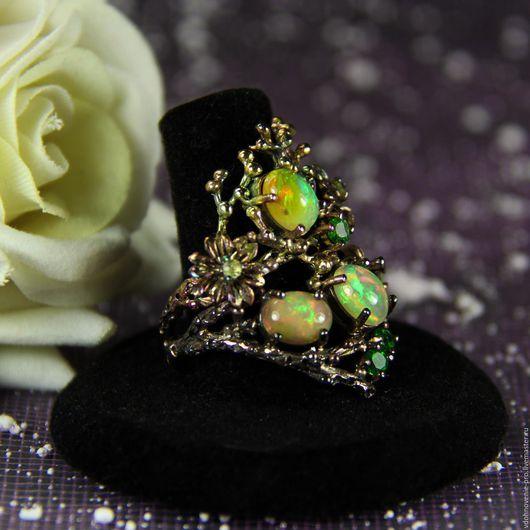"""Кольца ручной работы. Ярмарка Мастеров - ручная работа. Купить Кольцо с эфиопскими опалами """"Волшебное кольцо Тары"""" серебро, золото. Handmade."""
