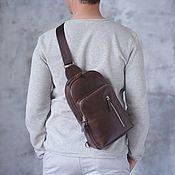Сумки и аксессуары handmade. Livemaster - original item Men`s leather shoulder backpack