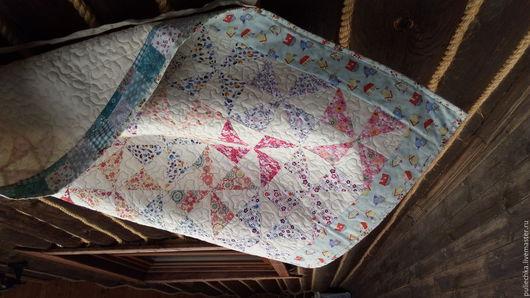 Пледы и одеяла ручной работы. Ярмарка Мастеров - ручная работа. Купить Детское одеяло Цветочная Вертушка. Handmade. Бледно-сиреневый