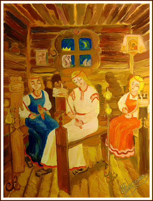Фантазийные сюжеты ручной работы. Ярмарка Мастеров - ручная работа. Купить картина Три девицы. Handmade. Картина, картина в подарок