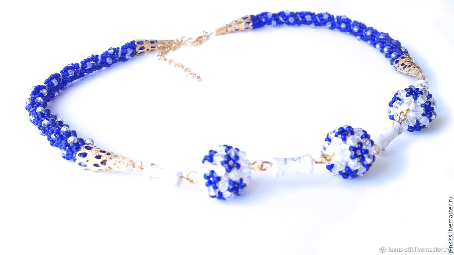 Necklace harness with beads blue 073, Necklace, Krasnodar,  Фото №1