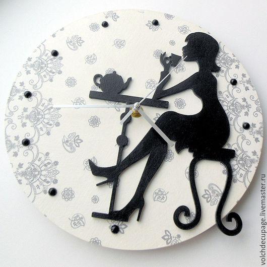 Часы для дома ручной работы. Ярмарка Мастеров - ручная работа. Купить Часы Парижское кафе. Handmade. Чёрно-белый