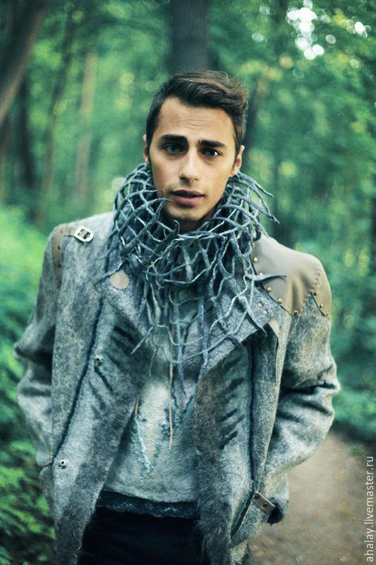 """Для мужчин, ручной работы. Ярмарка Мастеров - ручная работа. Купить Куртка мужская серая из войлока ручной работы  """"Викинг"""". Handmade."""