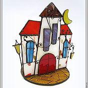 """Для дома и интерьера ручной работы. Ярмарка Мастеров - ручная работа Подсвечник-статуэтка """"Вечерний квартал"""" (витраж). Handmade."""