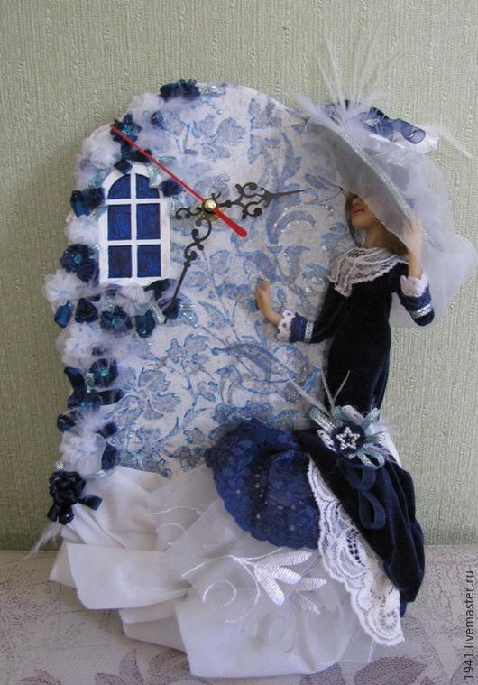 """Часы для дома ручной работы. Ярмарка Мастеров - ручная работа. Купить часы """"Синий вечер"""". Handmade. Синий, подарок, Цернит"""