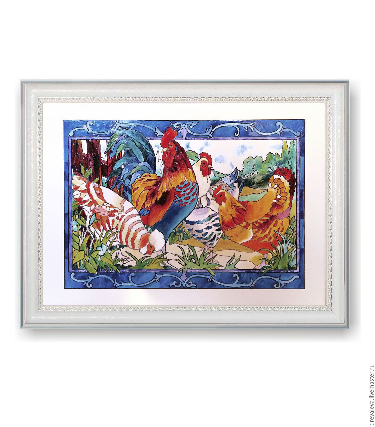 Picture-panels.`Little Chicks and cocks` Painting on ceramics