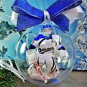 Елочные игрушки ручной работы. Ярмарка Мастеров - ручная работа Вратарь-хоккеист в шаре подарок хоккеисту. Handmade.